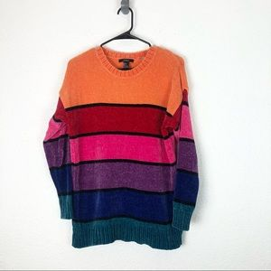 Forever 21 Chenille Knit Sweater Striped 90s